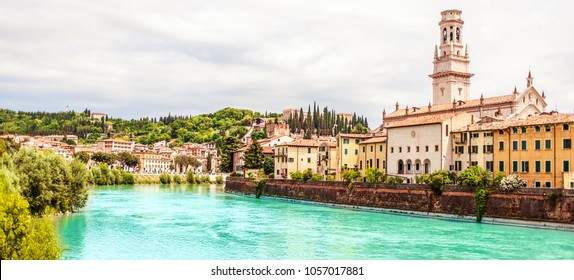 VERONA, ITALY - June 25, 2017: Verona. Veneto region.  City of Verona with river at sunny day. Italy