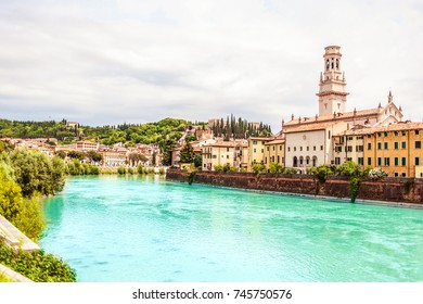 VERONA, ITALY - June 25, 2017: Verona. Veneto region.  City of Verona with river at sunny day. Italy.