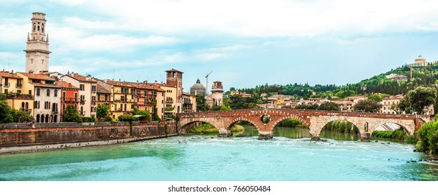 VERONA, ITALY - June 25, 2017: Verona. Veneto region.  Panoramic view Image of Verona with river at sunny day