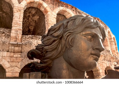 VERONA, ITALY - June 26, 2017: Verona Arena (Arena di Verona), a Roman amphitheatre with opera decoration  in Piazza Bra in Verona, Veneto region of Italy.