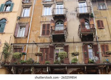 VERONA, ITALY - MARCH 17: Historical building at Piazza delle Erbe on March 17, 2015 in Verona.