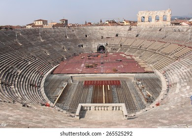VERONA, ITALY - MARCH 18: The Verona Arena (Arena di Verona) is a Roman amphitheatre in Piazza Bra on March 18, 2015 in Verona. It was built in 1st century. A stage has been constructed at that time.