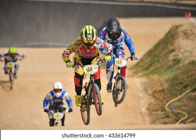 "VERONA, ITALY - MARCH 26: Unidentified BMX riders on March 26, 2016 in Verona, Italy. This competition included young riders from many European countries at the ""BMX Olympic Arena"" in Verona."