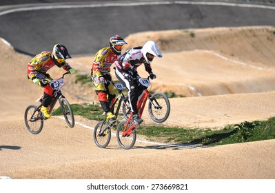 "VERONA, ITALY - MARCH 28: BMX riders on March 28, 2015 in Verona, Italy. This competition included riders from many European countries at the ""BMX Olympic Arena"" in Verona."