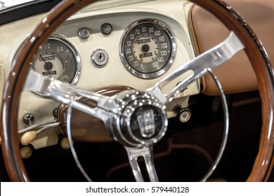 Verona, Italy - May 09, 2015: Dashboard detail of an old vintage car.