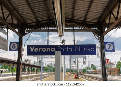 Verona, Italy - May 11 2018: train station platform. Porta Nuova main railway station with sign, tracks and platform view.