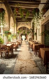 Verona, Italy - May 15, 2019: Restaurant in old town of Verona, Italy