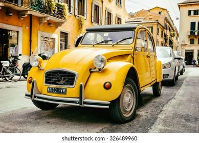 VERONA, ITALY - MAY 16, 2014: Old Citroen 2CV parked on the street of Verona, Italy