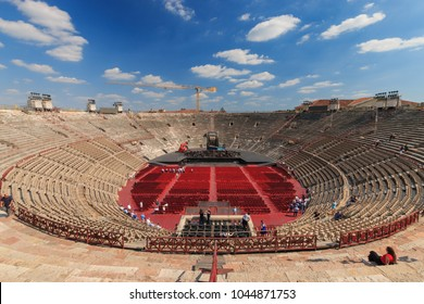Verona, Italy - May 26, 2017: Inside view of Arena di Verona, an ancient Roman amphitheatre in Verona, Italy