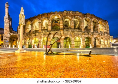 Verona, Italy. Night picture of the famous Arena