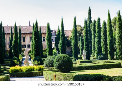VERONA, ITALY - OCTOBER 10, 2016 - view of Giusti Palace and Garden in Verona. The Giusti Garden is the Italian Renaissance gardens , it were planted in 1580.