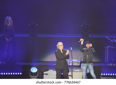 Verona, Italy - October 14, 2017: Live Concert of Umberto Tozzi a famous Italian pop singer with his friend called RAF at Verona Arena