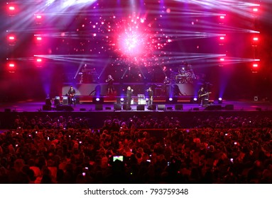 Verona, Italy - October 14, 2017: SOLD OUT at Live Concert of Umberto Tozzi an Italian singer with his great band and his friend MARCO MASINI on stage