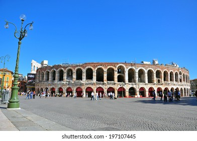 VERONA, ITALY - OCTOBER 2: View of Arena historical building in Verona on October 2, 2012. Verona is one of the most popular cities of Veneto, Italy.