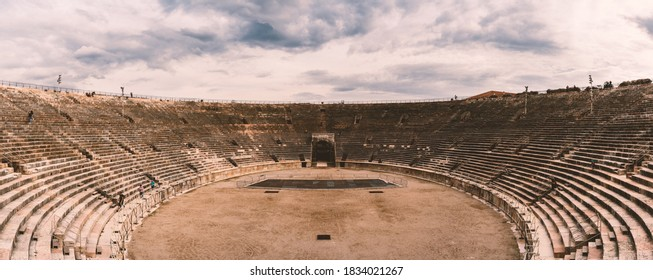 VERONA, ITALY - OCTOBER, 2020: Arena interior panoramic view. The Verona Arena is a Roman amphitheatre in Piazza Bra in Verona, Italy built in the first century.