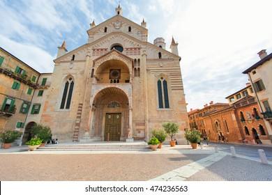 VERONA, ITALY - OCTOBER 3, 2015: Verona, Santa Maria Matricolare Cathedral facade