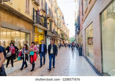Verona, Italy - October 5, 2018: Street view from Via Mazzini, a shopping street downtown in the city of Verona in Italy