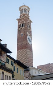 Verona, Italy - October 5, 2018: The landmark Lamberti Tower in the old city of Verona in Italy