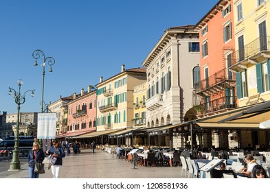 Verona, Italy - October 5, 2018: Colorful buildings by Piazza Bra in the city of Verona in the province Veneto in Italy