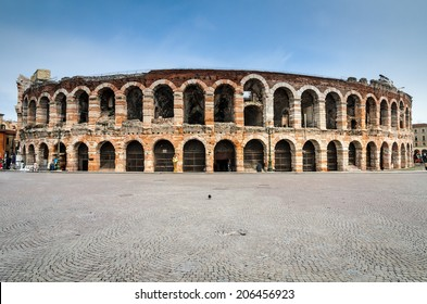 Verona, Italy. Roman Empire amphitheatre, Arena, completed in 30AD, the third largest in the world.