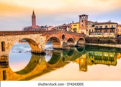 Verona, Italy. Scenery with Adige River and Ponte di Pietra.