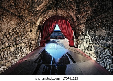 VERONA, ITALY - SEP 13 : Inside the Arena di Verona, a Roman amphitheatre in Piazza Bra internationally famous for the large-scale opera performances given there . On Sep 13, 2010. Verona.