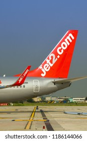 VERONA, ITALY - SEPTEMBER 2018: Tail fin of a Jet2 Boeing 737 at Verona airport.