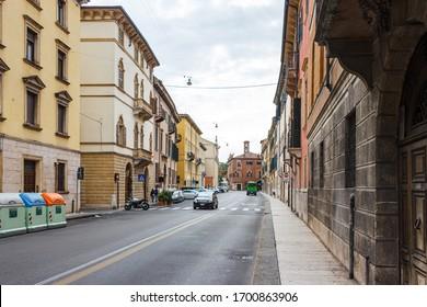 Verona, Italy, September 27, 2015 : The architecture of the old part of the city of Verona in Italy. The Via Orti Manara street.