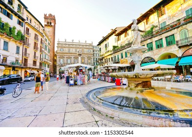 Verona, Italy - September 5, 2016 : View of the popular square at Piazza delle Erbe in Verona, Italy on September 5, 2016. Verona is located at the north of Italy, where is also listed as a World Heri