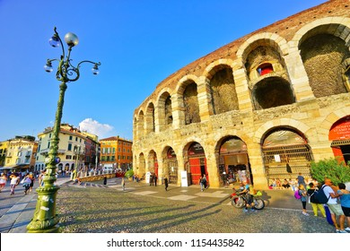 Verona, Italy - September 5, 2016 : View of the Verona Arena in summer in Verona on September 5, 2016. It is still one of the best preserved ancient Roman amphitheatre in the world.