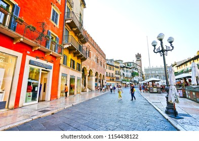 Verona, Italy - September 5, 2016 : View of the popular square at Piazza delle Erbe in Verona, Italy on September 5, 2016. Verona is also listed as a World Heritage Site.