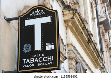 Verona, Italy - September 5, 2018: Signage of Sali e Tabacchi, Italian for Tobacconist. Also called a tobacco shop, a tobacconist's shop or a smoke shop is a retailer of tobacco products