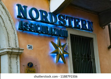 Verona, Italy - September 5, 2018: Signage of the Nordstern Insurance, life insurance company that provides a variety of life insurance products