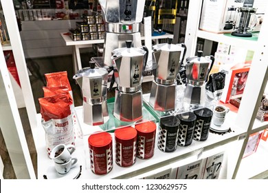 Verona, Italy - September 5, 2018: Bialetti Moka Express coffee machines. Alfonso Bialetti was an engineer who became famous for acquiring Luigi De Ponti's invention of the Moka Express coffeemaker