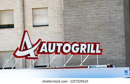 Verona, Italy - September 5, 2018: Autogrill signage. Autogrill is an Italian catering company. Over 90% of the company's business derives from outlets in airport terminals and motorway service areas