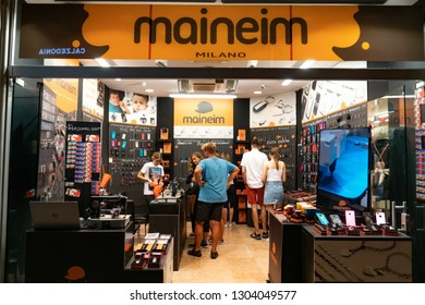 Verona, Italy - September 5, 2018: People visiting the Maineim Milano store. The Italian company offers personalised jewelry including necklaces, earrings, bangles, bracelets