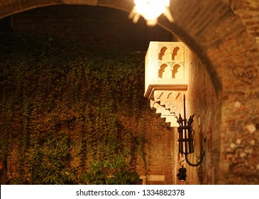 Verona, Italy - September 5, 2018: Side view of the 14th-century house of Juliet with the purported balcony. Juliet Capulet is the female protagonist in William Shakespeare's tragedy Romeo and Juliet