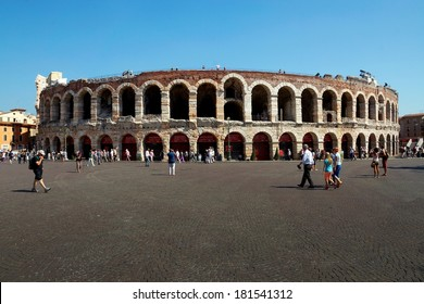 VERONA, ITALY-3 of SEPTEMBER. the world famous building of an amphitheater on September 3, 2013 in Verona. It is the most large-scale opera concern in the world, accepting in a year to 600000 viewers