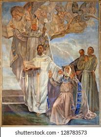VERONA - JANUARY 27: Fresco of four big Teachers of west catholic church  by Agostino Pegrassi from year 1932 in San Bernardino church and Canossa chapel on January 27, 2013 in Verona, Italy.