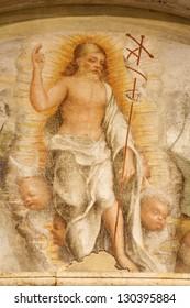 VERONA - JANUARY 27: Fresco of resurrected Christ from 14. -15. cent. in Basilica di San Zeno on January 27, 2013 in Verona, Italy.