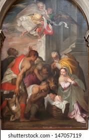 VERONA - JANUARY 27: Nativity scene by Bernardinus Indisur from year 1567 in San Bernardino church on January 27, 2013 in Verona, Italy.