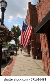 VERONA, NEW JERSEY - AUGUST 3, 2017: American flag along Bloomfield Avenue in Verona. Editorial use only.