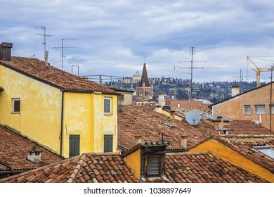 Verona Panoramic view from Roman amphitheatr Verona Arena (Arena di Verona). Verona, Veneto region, Italy.
