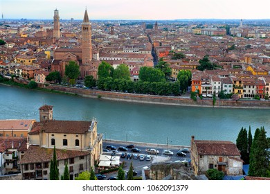 Verona, Veneto / Italy - 2012/07/06: Panoramic view of the Verona historical city center and Adige river