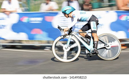 Verona, VR, Italy - June 2, 2019: Migual Angel Lopez at Tour of Italy also called Giro d'Italia is a famous cycling race with many professional cyclists