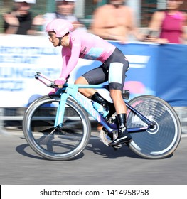 Verona, VR, Italy - June 2, 2019: Richard Carapaz at Last stage Tour of Italy also called Giro d'Italia is a cycling race with many professional cyclists