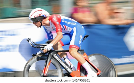 Verona, VR, Italy - June 2, 2019: : Madouas Valentin at Last stage Tour of Italy also called Giro d'Italia is a famous cycling race with many professional cyclists