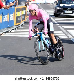 Verona, VR, Italy - June 2, 2019: Richard Carapaz at Last stage Tour of Italy also called Giro d'Italia is a famous cycling race with many professional cyclists