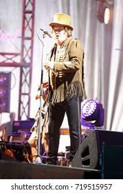 Verona, VR, Italy - September 20, 2017:  Live Concert at Verona Arena of Zucchero Fornaciari called Sugar an Italian singer and musician at Black Cat Tour