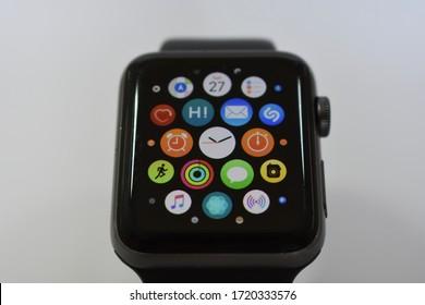 Verona,Italy - 04-27-2020: menu of an Apple Watch
